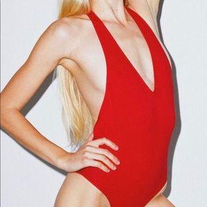 American Apparel Red Halter Bodysuit